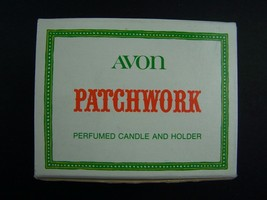 Avon Patchwork Perfumed Candle And Holder Cup Original Box Vintage 1970s - $5.63