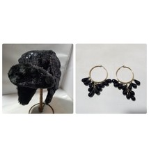 Women's Fashion Hat Black Sequin Faux Fur Trapper + Matching Earrings - $25.73 CAD