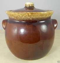 "Hull USA Brown Drip Pottery Large Bowl & Lid Ovenproof 6.5"" tall - $14.50"