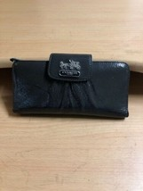 Authentic COACH BROWN PATENT CLUTCH WALLET - $36.22