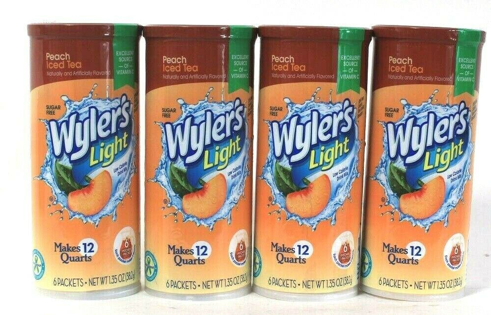 Primary image for 4 Wyler's Light 1.35 Oz Peach Iced Tea Sugar Free 6 Pitcher Packs Drink Mix