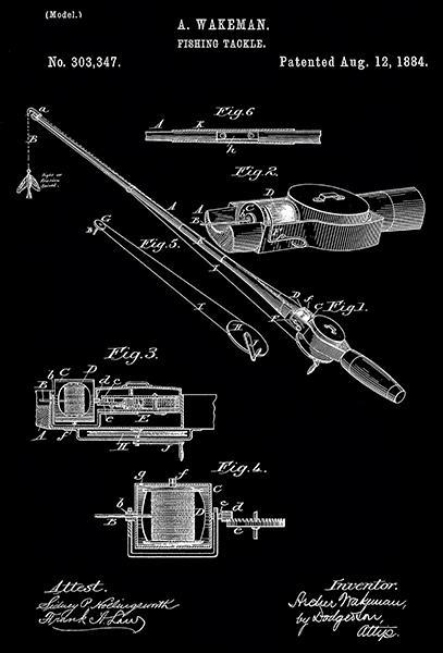 Primary image for 1884 - Fishing Tackle - A. Wakeman - Patent Art Poster