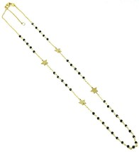 18K YELLOW GOLD NECKLACE, FACETED BLACK SPINEL, FLAT STARS, ROLO CHAIN ALTERNATE image 1