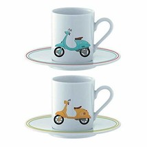 Set Of 2 Espresso Cup And Saucer - Scooter #gdf - $17.59