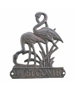 Flamingos Welcome Plaque Brown Cast Iron Beach Themed Sign - $14.99