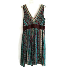 Sandra Darren 10 Sleeveless Dress Brown Teal Tan V-neck Lined NEW D37P - $23.99
