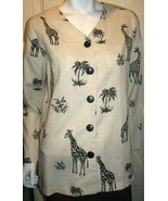 Drapers And Diamonds Linen Blend Jacket Med. 10-12  Beige/Black Tropical... - $24.99