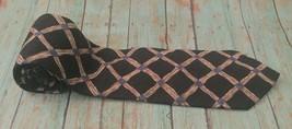 Geoffrey Beene Tie Black Crossover Design Beige Blue Necktie Neckwear - $7.91