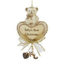 Baby's First Christmas Ornament Bear and Heart By Kurt Adler - $12.34
