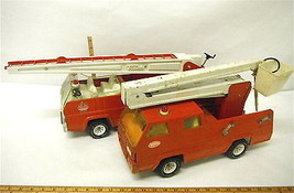 2 Vintage Tonka USA Steel Fire Trucks Aerial Ladder Pumper Water Cannon - $94.57