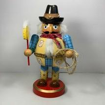 "Round Cowboy Nutcracker Stick Horse Lasso Hat Bandanna Boots 10"" Wooden - $24.74"