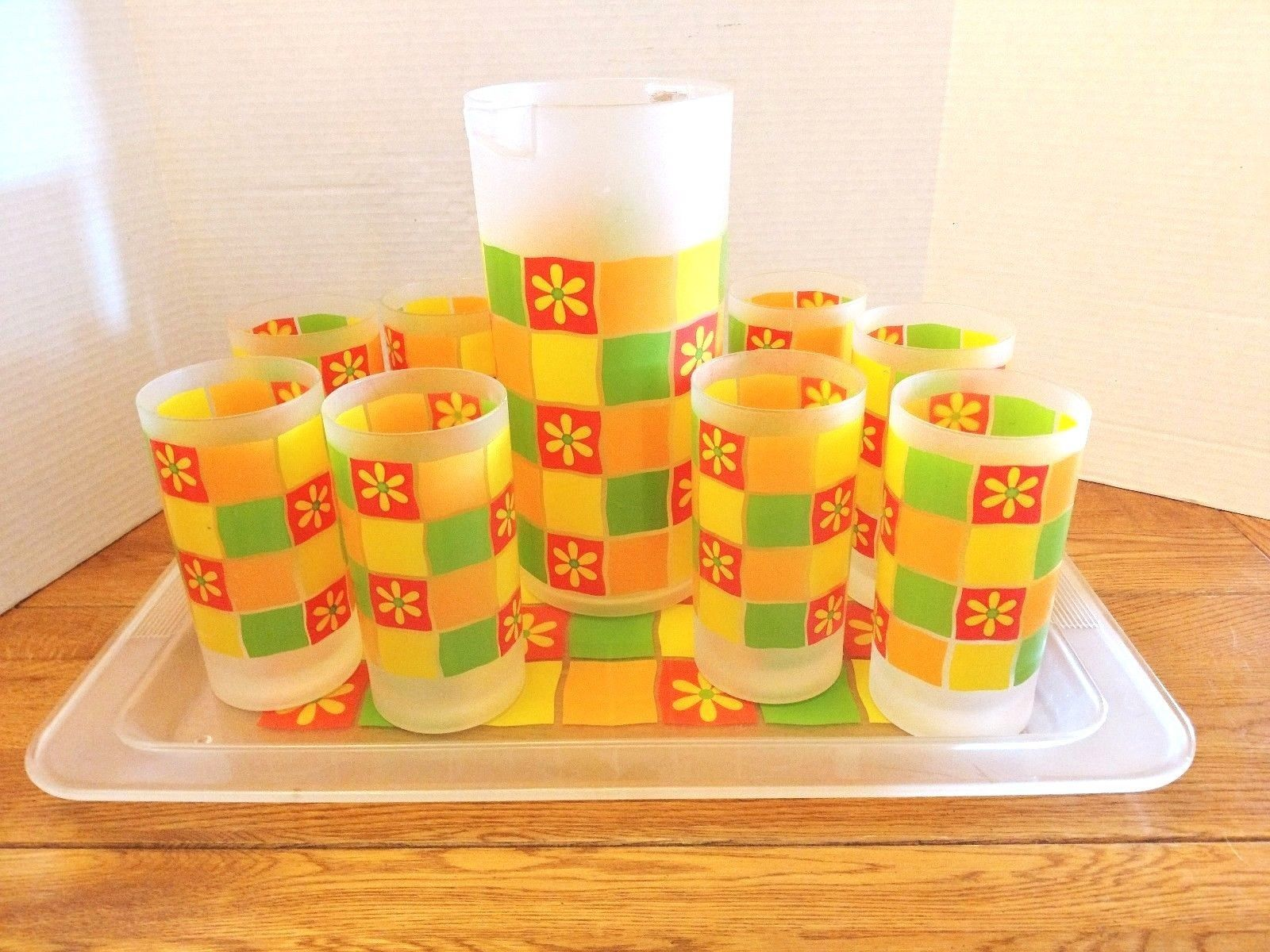 Beverage Serving Set Pitcher, 8 Tumblers, Matching Tray Colorful Vintage Plastic