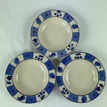 Hartstone Pottery Blue Orchard Rimmed Soup Bowls Lot of 3 USA - $21.77