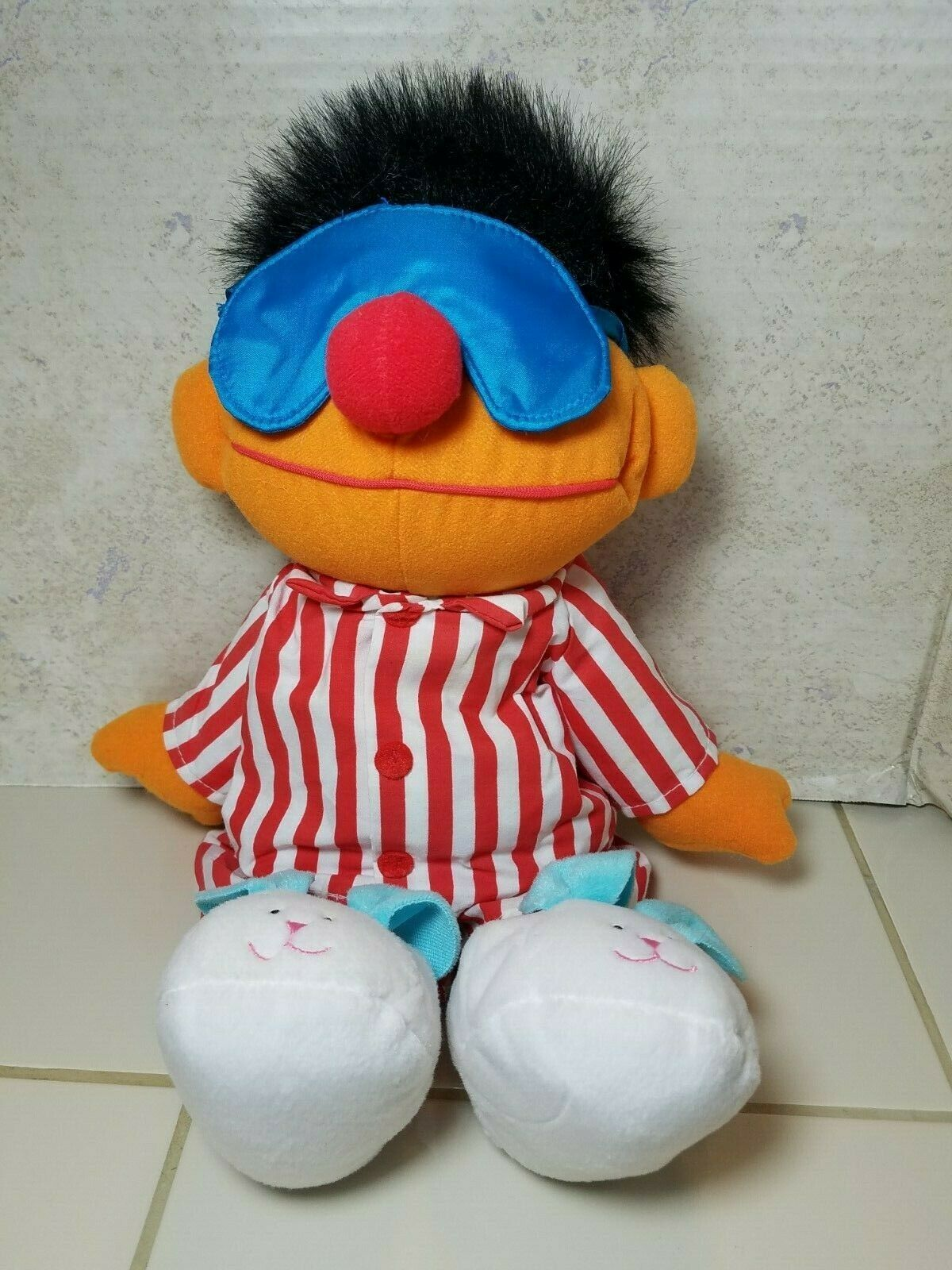 "TYCO Sesame Street Sleep And Snore Ernie 1996 Plush Doll 18"" Jim Henson Muppet image 2"