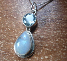 Moonstone and Faceted Blue Topaz Teardrop 925 Sterling Silver Pendant h136s - $21.77