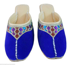 Women Slippers Indian Handmade Traditional Leather Flip-Flops Clogs Blue US 7  - $24.99