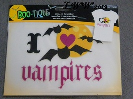 I Love Vampires with bats Halloween Iron On Transfer T-shirt sheet in Pa... - $3.99