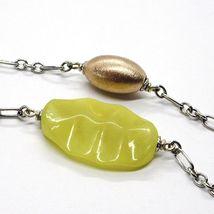 Necklace Silver 925, Ovals Pink, Jasper Green Wavy, Length 105 CM image 5