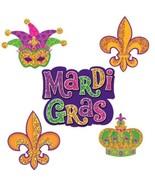 Mardi Gras 10 Mini Cutouts 7, 6, 4 inch Cutouts Paper Party Decorations - $5.06 CAD