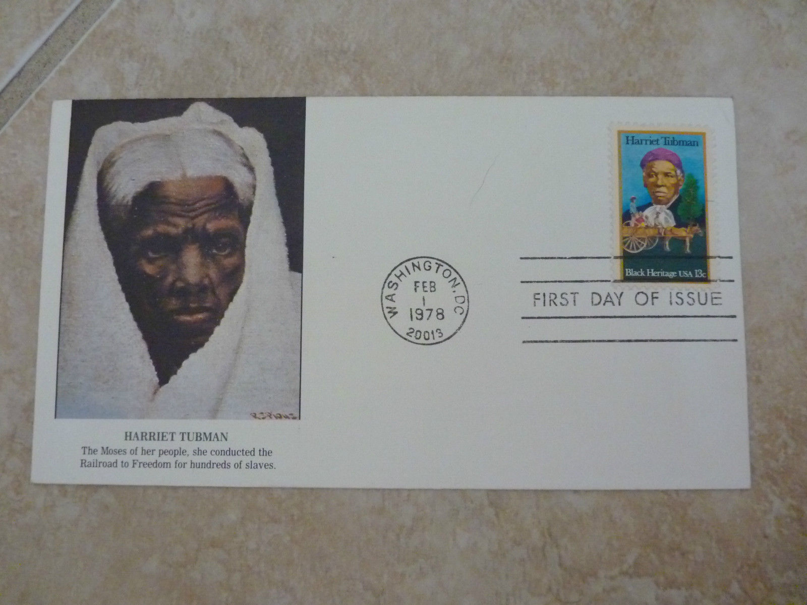 Official First Day Cover Stamp Harriet Tubman Railroad to Freedom 1978