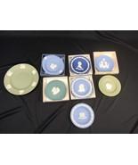 Vintage Wedgwood Jasper Lot of 8 Plates Blue Green Royal - $149.99