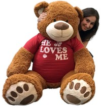 5 Ft Giant Teddy Bear 60 Inch Soft Cinnamon Brown Color Wears HE LOVES ME Tshirt - $127.11