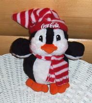 "Coca Cola Coke Sweet 7"" Plush Penguin in Red & White Stripe Cap & Scarf - $6.88"