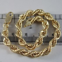 18K YELLOW GOLD BRACELET BIG 5 MM BRAID ROPE LINK, 7.50 INCH LONG, MADE IN ITALY image 1