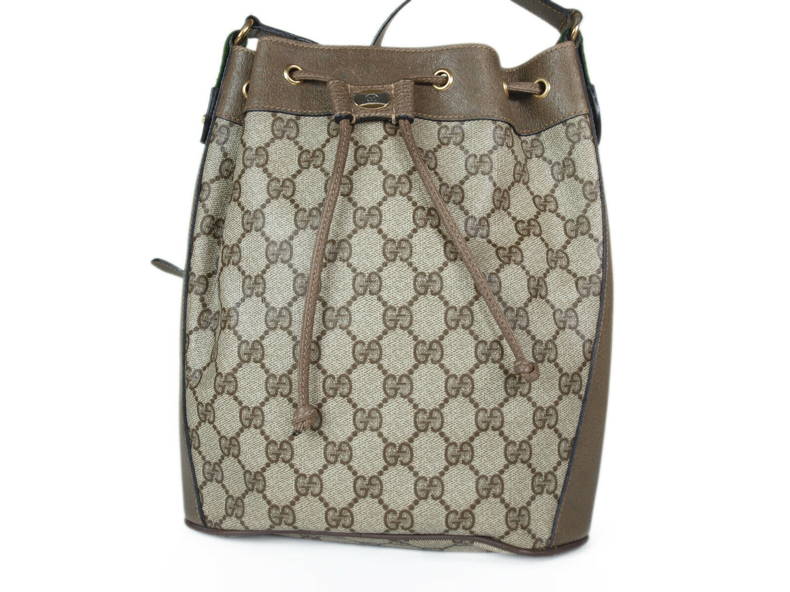 Auth GUCCI GG Web PVC Canvas Leather Browns Drawstring Shoulder Bag GS2128