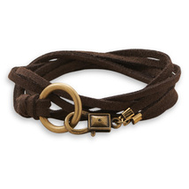 Double Strand Brown Suede Wrap Design Fashion Bracelet - $21.99