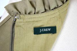 J.Crew Olive Ruffled Cotton Boat Neck Knee Length Shift Dress Sleeveless M image 9