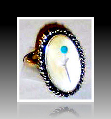 Sterling Silver Mother of Pearl  & Turquoise Ring
