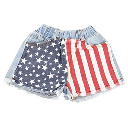 Unique Baby Girls 4th of July American Flag Denim Shorts (6/XL)