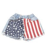 Unique Baby Girls 4th of July American Flag Denim Shorts (6/XL) - ₨2,575.51 INR