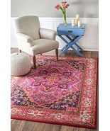 Traditional Area Rug Oriental Persian Look 9x12 Floral Pink Rugs Traditi... - $603.67
