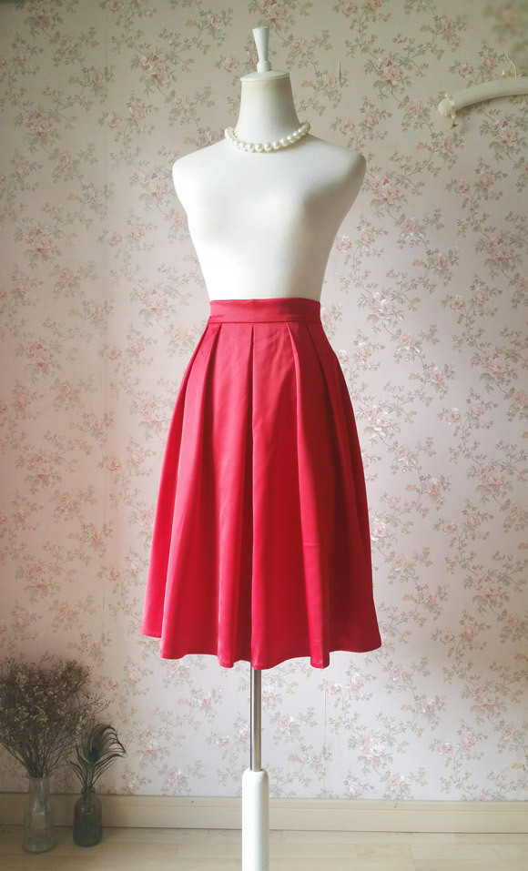 Classic Christmas Red Calf Length Pleated Skirt Lady Plus Size Taffeta Skirt