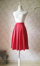 High Waisted Red Midi Length Pleated Skirt Plus Size Pleated Midi Taffeta Skirt image 1