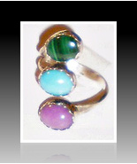 Navajo sterling silver, turquoise & coral adjustable ring 3 Stone spray ... - $49.95
