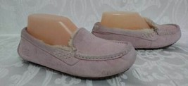 Womens UGG Pink Leather Sheepskin Suede Moccasins Slippers Sz.6  - £29.26 GBP