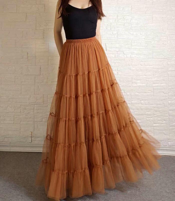 Layered long tulle skirt 1