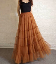 A Line Layered Tulle Skirt Full Long Layered Ruffle Tulle Skirt Brown image 1