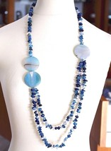 Long Necklace 90 cm, Agate Blue Banded Disco Big, Double Thread image 1