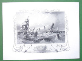 GERMANY Coast at Ostende Stormy Sea Fishing Boats - Antique Print Engraving - $13.77