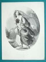 GREECE Women Flee Horrors after Fall of Tripolitsa - Antique Print Engra... - $12.60