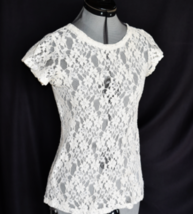 LUSH Top Blouse Floral Lace Back Zipper Cream Cap Sleeves SEXY  - $10.99