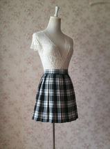 Black and White Plaid Skirt Mini Pleated Plaid Skirt Outfit A-line High Waisted image 3