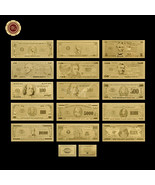 WR 15pcs US Gold Dollar Banknotes Set $1-$1 Billion Bill Note Collection... - $14.39