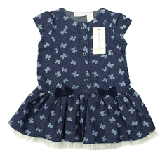 FIRST IMPRESSIONS NEW INFANT GIRLS BUTTERFLY PRINT SLEEVELESS DENIM DRES... - $14.84