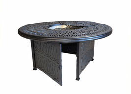 Cast aluminum wicker furniture patio 7pc fire pit dining set with round table image 4