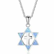 925 Sterling Silver Blue Fire Opal Star Of David Pendant Necklace w 925 ... - $14.85